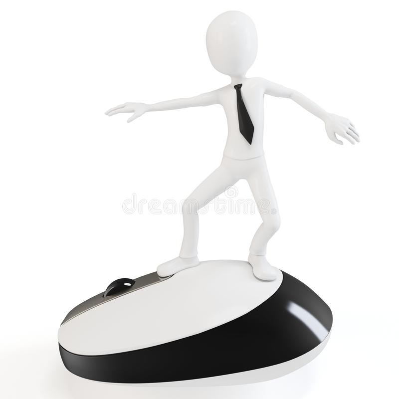 3d man surfing the web on a mouse. 3d man surfing the web on white background vector illustration