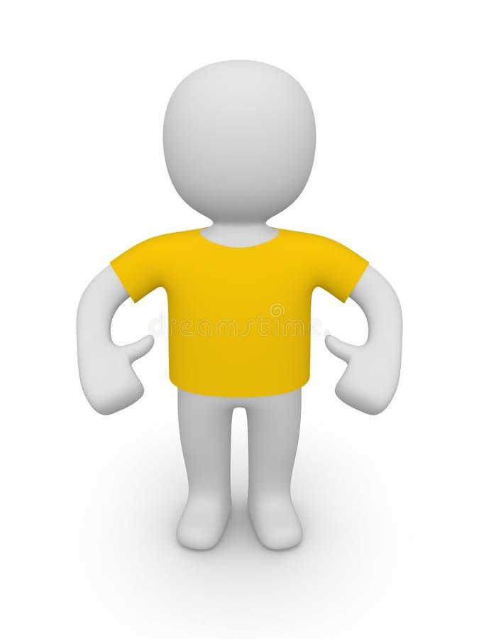 3d man in t-shirt stock illustration