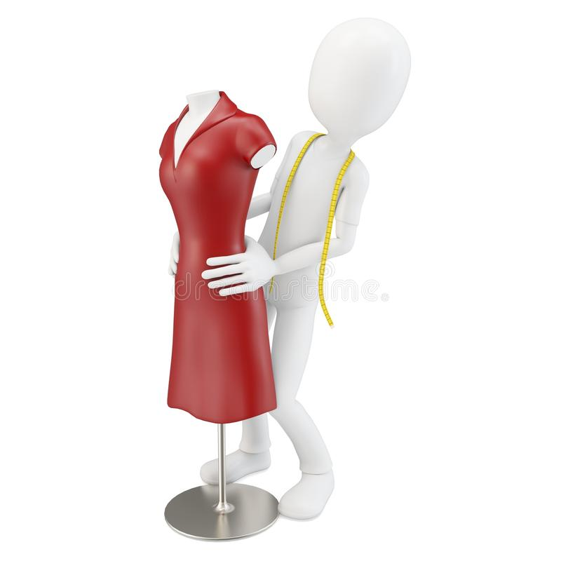 3d man tailor with red dress mannequin royalty free illustration
