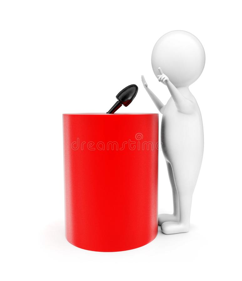 Free 3d Man Talking Infront Of A Cylindrical Shape Podium With A Mic Attached On The Top Of It Concept Stock Image - 116102871