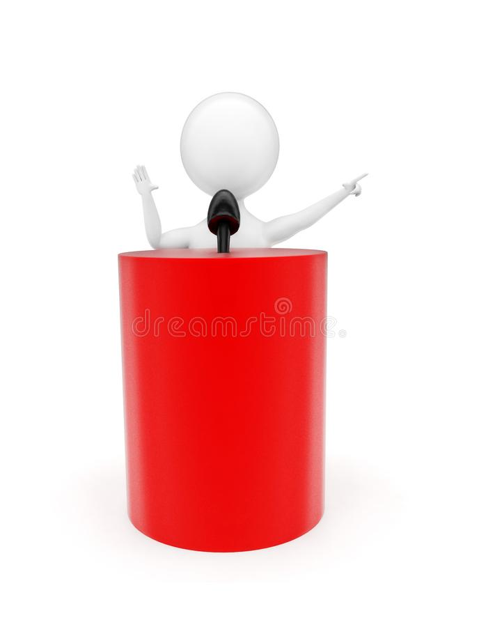 Free 3d Man Talking Infront Of A Cylindrical Shape Podium With A Mic Attached On The Top Of It Concept Stock Photography - 116102882