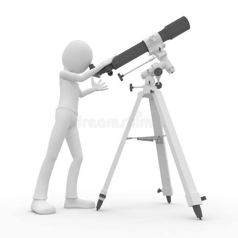 3d man with telescope vector illustration
