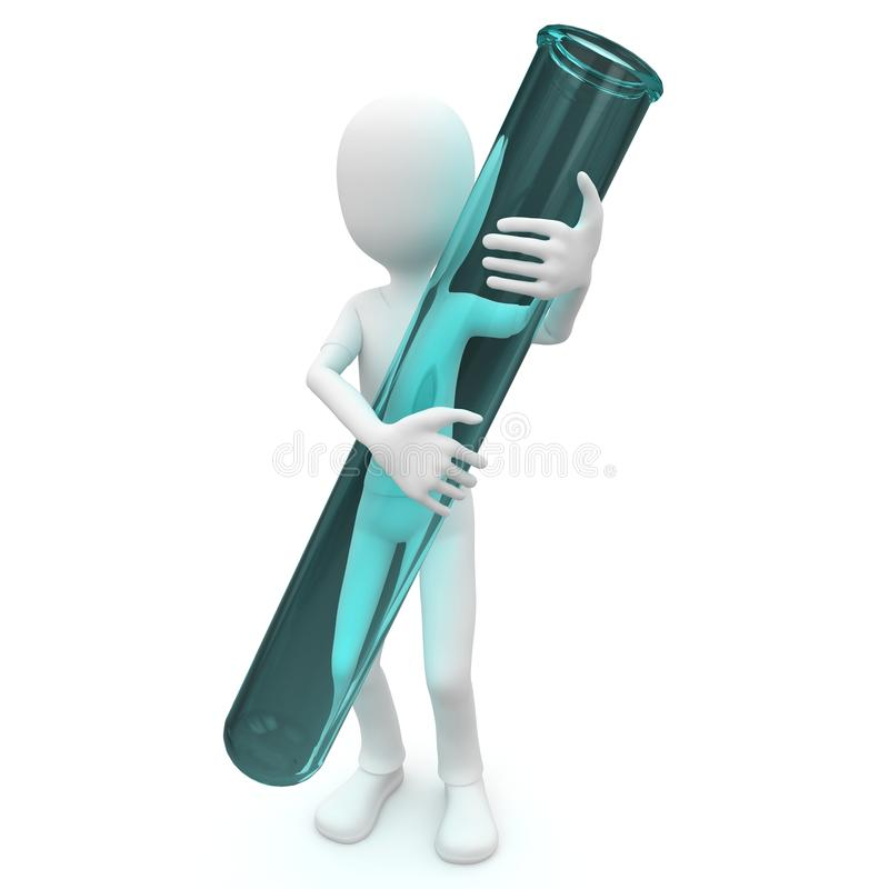 3d man with test tube royalty free illustration