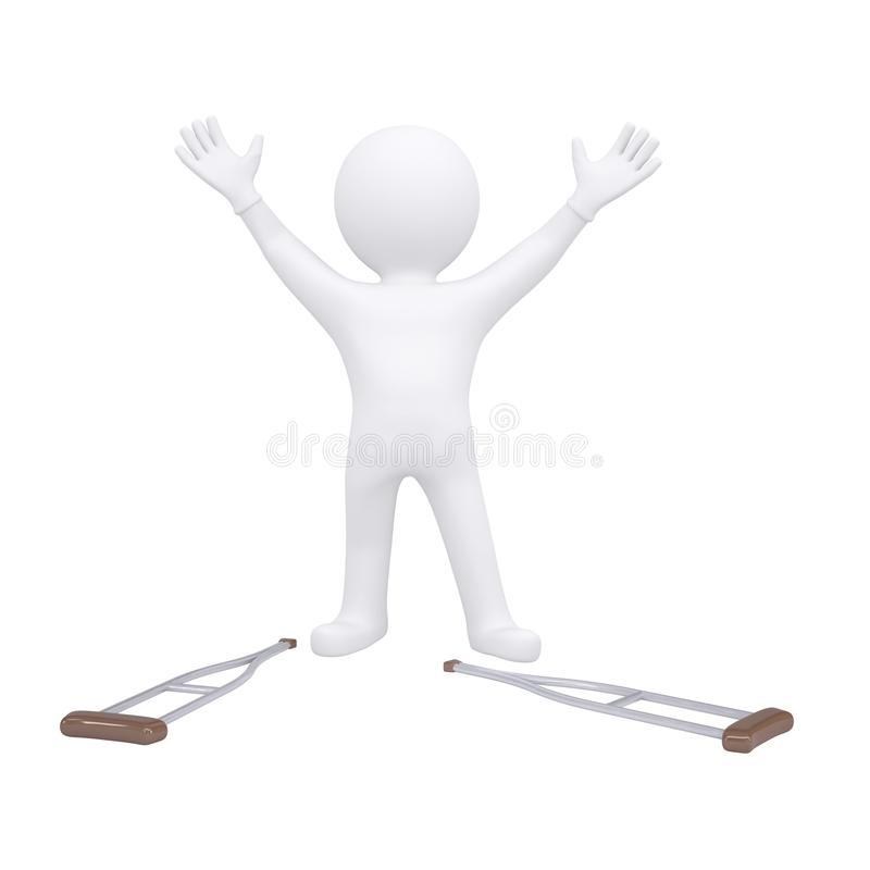 3d Man Threw His Crutches Royalty Free Stock Photography