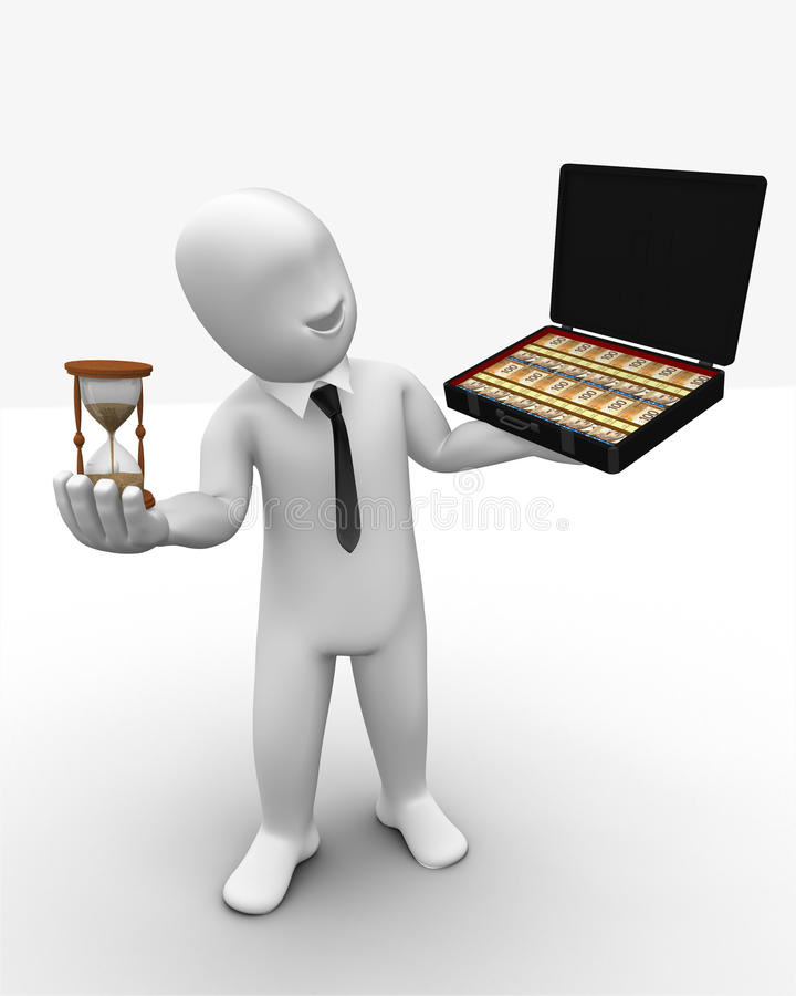 3d Man Times And Moneys In Hands Royalty Free Stock Image