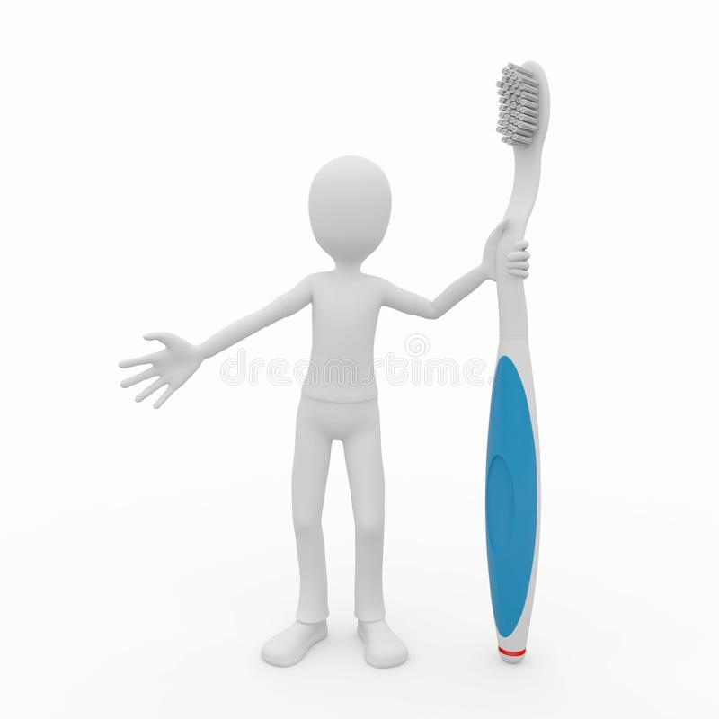 Download 3d man with toothbrush stock illustration. Illustration of hand - 15828478