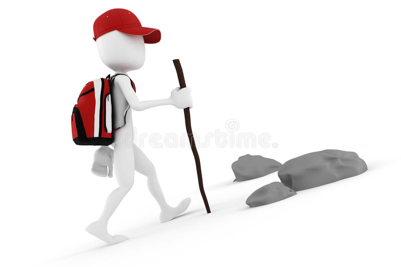 Download 3d Man Tourist With A Big Red Backpack Stock Illustration - Image: 18506615