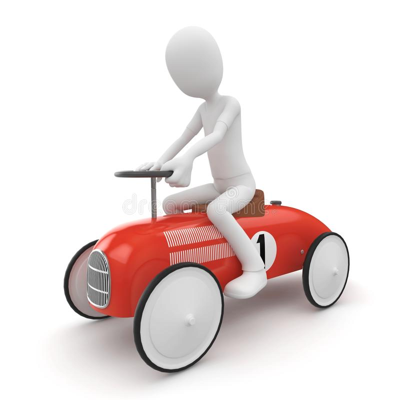 3d man with toy car royalty free illustration
