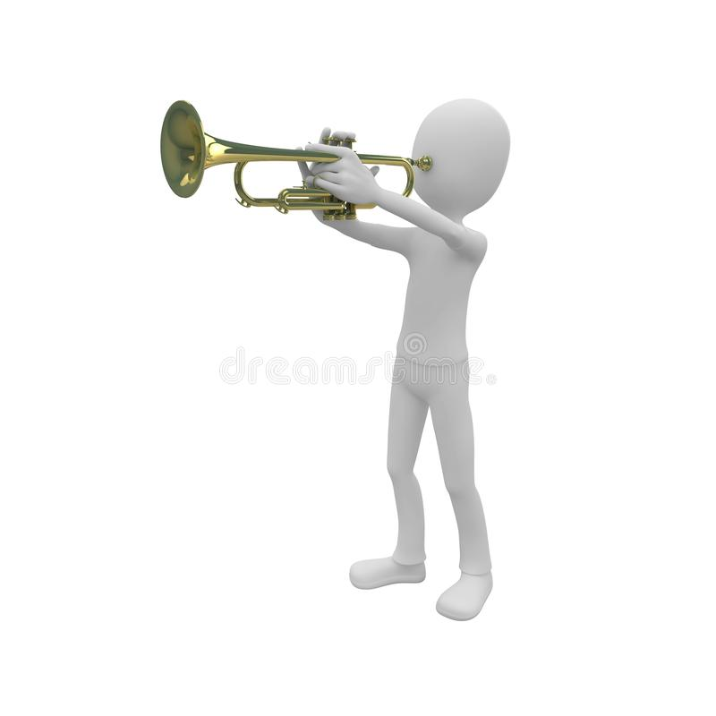 Download 3d man with trumpet stock illustration. Image of professional - 15633761