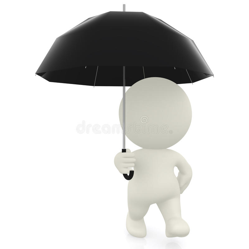 Download 3D man with umbrella stock illustration. Illustration of white - 19944755
