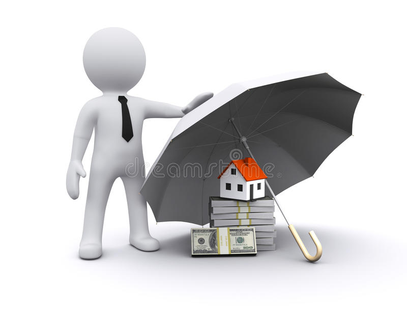 Download 3D man with umbrella stock illustration. Illustration of care - 20815878