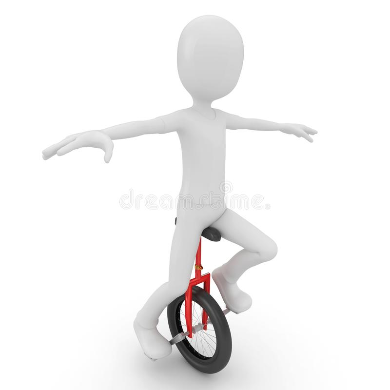 Download 3d Man With Unicycle Stock Photography - Image: 17070452