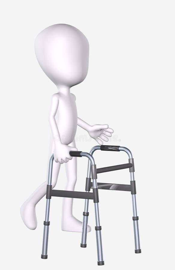 3D Man Using A Walker Stock Image