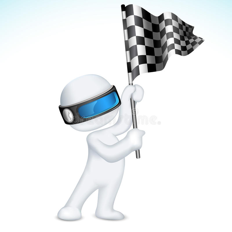3d Man in Vector with Racing Flag royalty free illustration