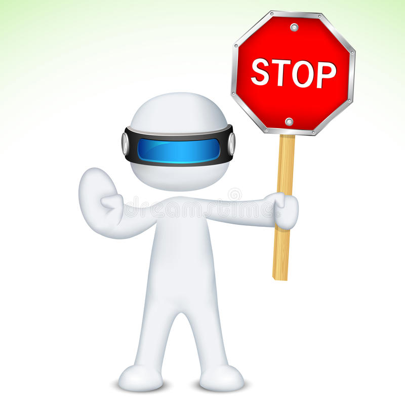 Download 3d Man In Vector With Stop Sign Stock Vector - Illustration: 22633797