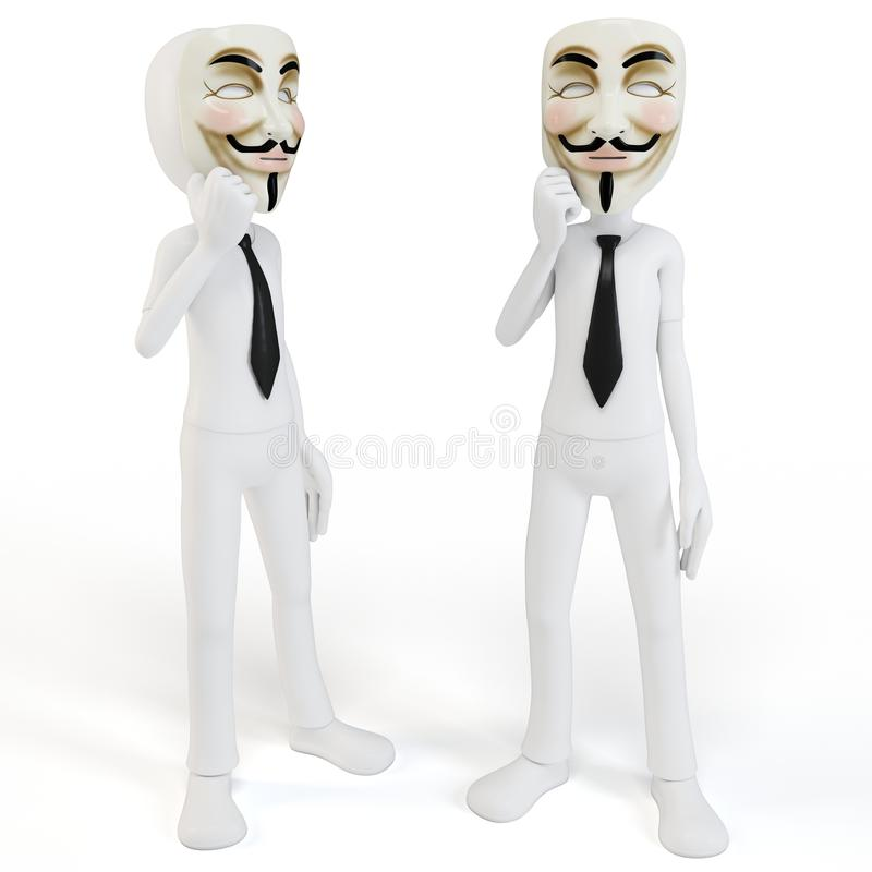 Download 3d Man With Vendetta Mask Anonymous Face Stock Illustration - Illustration: 23468991