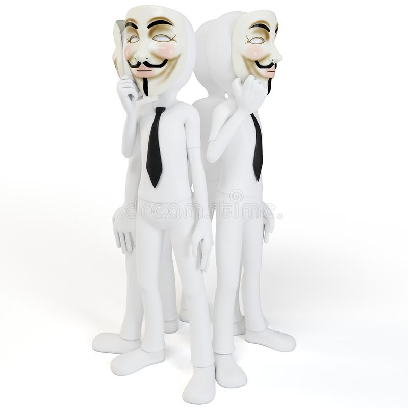 Download 3d Man With Vendetta Mask Anonymous Face Royalty Free Stock Images - Image: 23469009