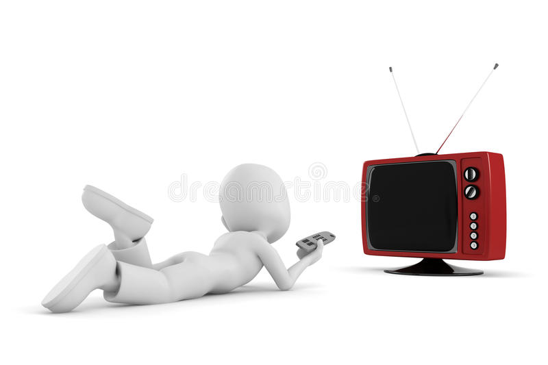 Download 3d Man Watching Tv And Having Good Time Royalty Free Stock Images - Image: 14251219