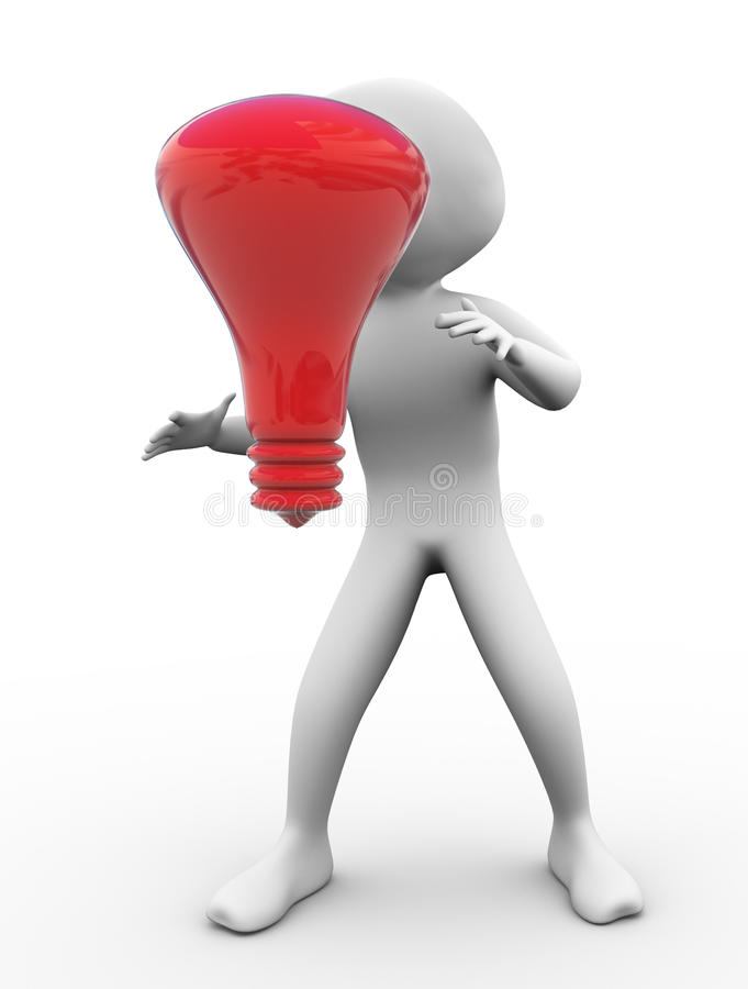 Free 3d Man With Red Bulb Royalty Free Stock Photos - 20080548