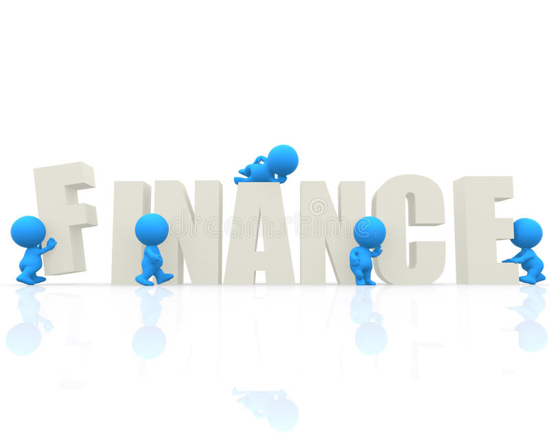 3D man with word Finance