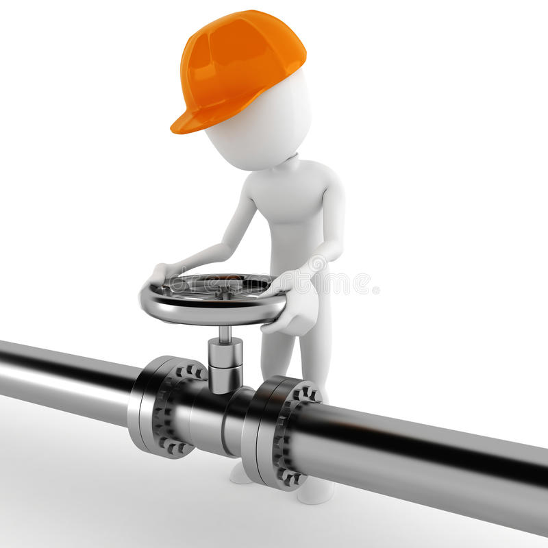 3d man worker and shiny pipeline. 3d man worker and a shiny pipeline royalty free illustration