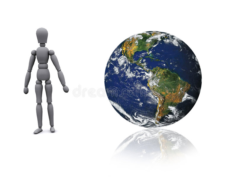 3d man and world. 3d man is standing next to a globe stock illustration
