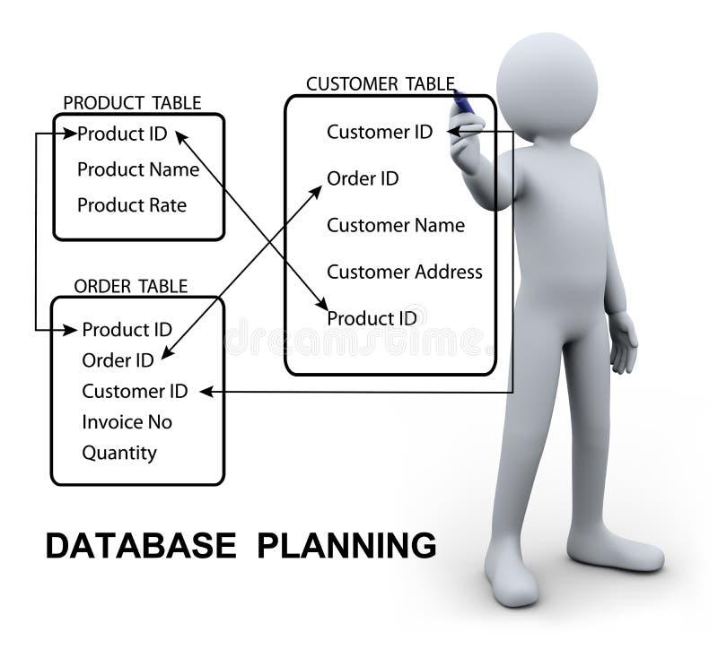 3d man writing database plan stock illustration