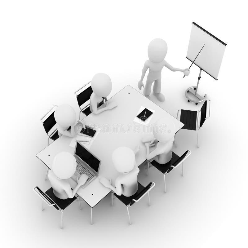 3d Mann, Geschäft Sitzung-getrennt auf Weiß lizenzfreie abbildung