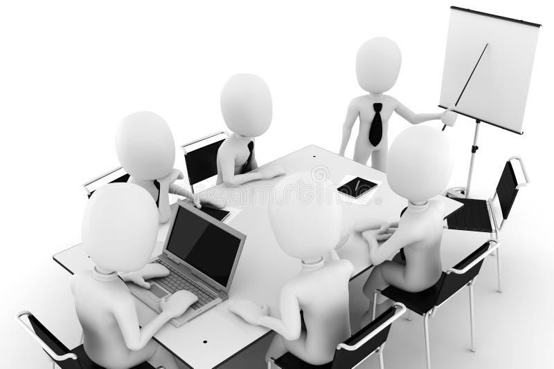 3d Mann, Geschäft Sitzung-getrennt auf Weiß stock abbildung
