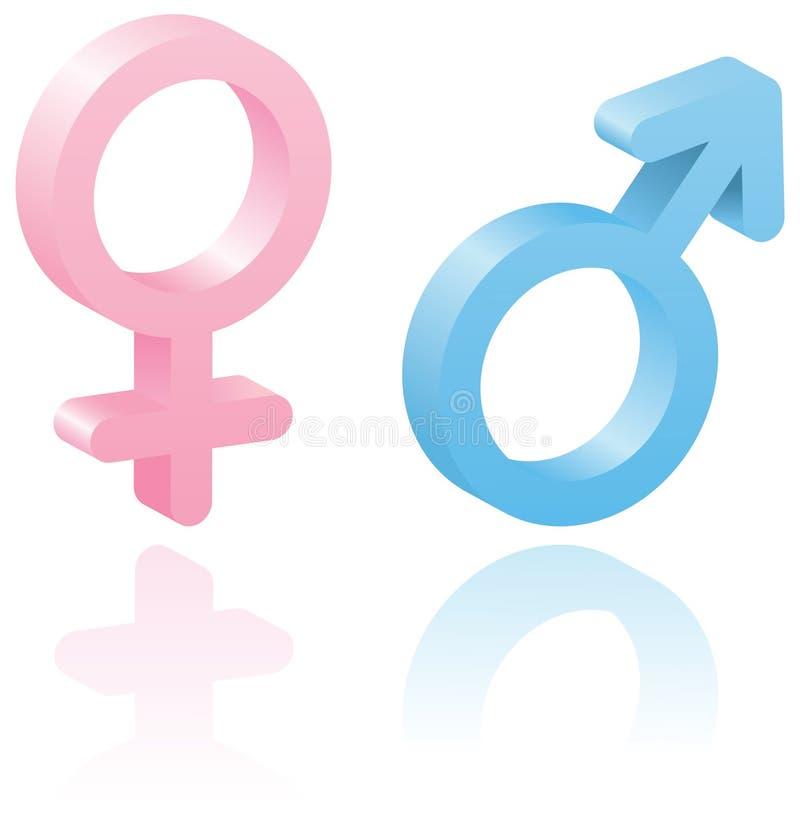 3d mannelijke en vrouwelijke symbolen. stock illustratie