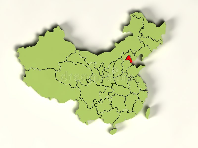 3d Map Of China Royalty Free Stock Photography