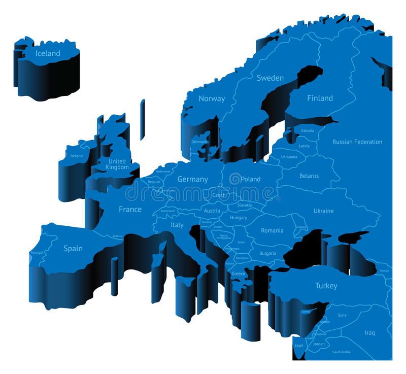 3d map of Europe. Map of Europe with national borders and country names. Pseudo-3d illustration stock illustration