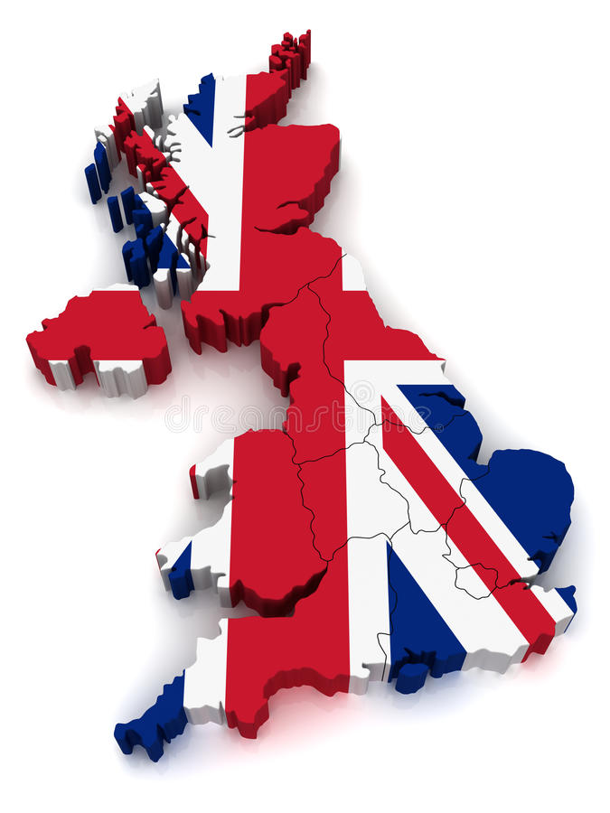 3D Map of United Kingdom. Simple 3D Map of United Kingdom with Borders royalty free illustration