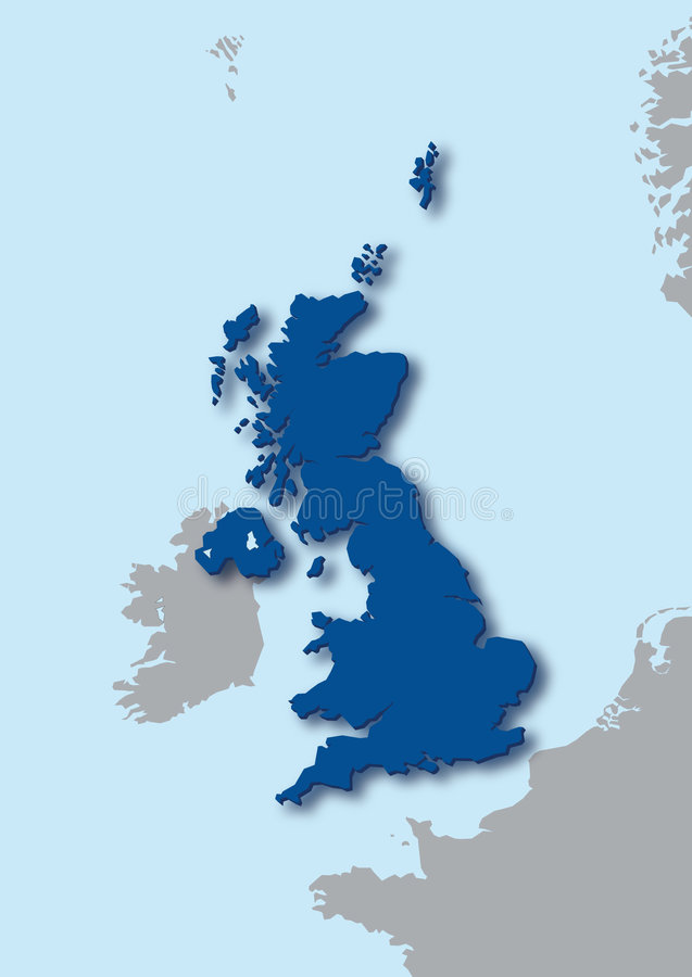 3d map of the United Kingdom. Blue stylized map of the United Kingdom highlighted stock illustration