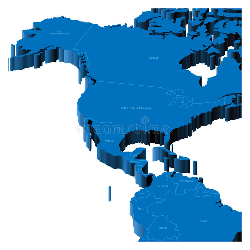 3d map of United States and Central America vector illustration