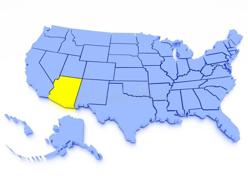3D Map Of United States State Arizona Stock Illustration