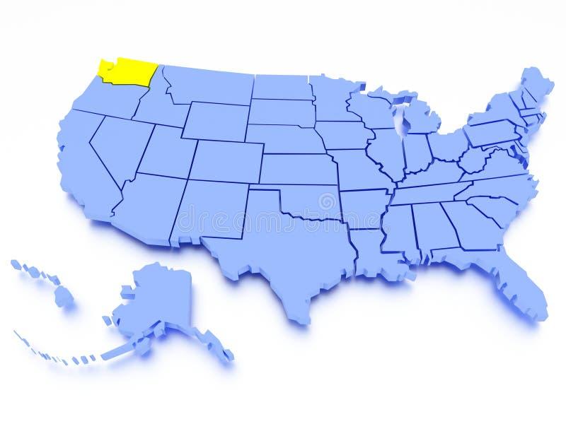 3D map of United States - State Washington royalty free illustration