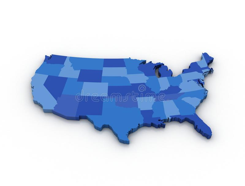 3D map of the USA. On white background