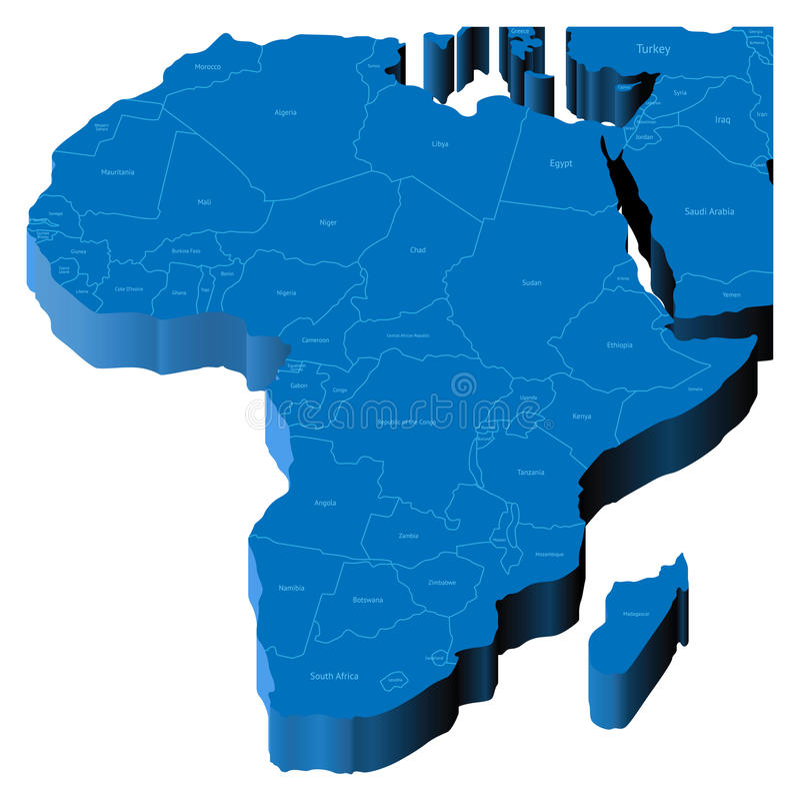 3d mapa Africa ilustracji