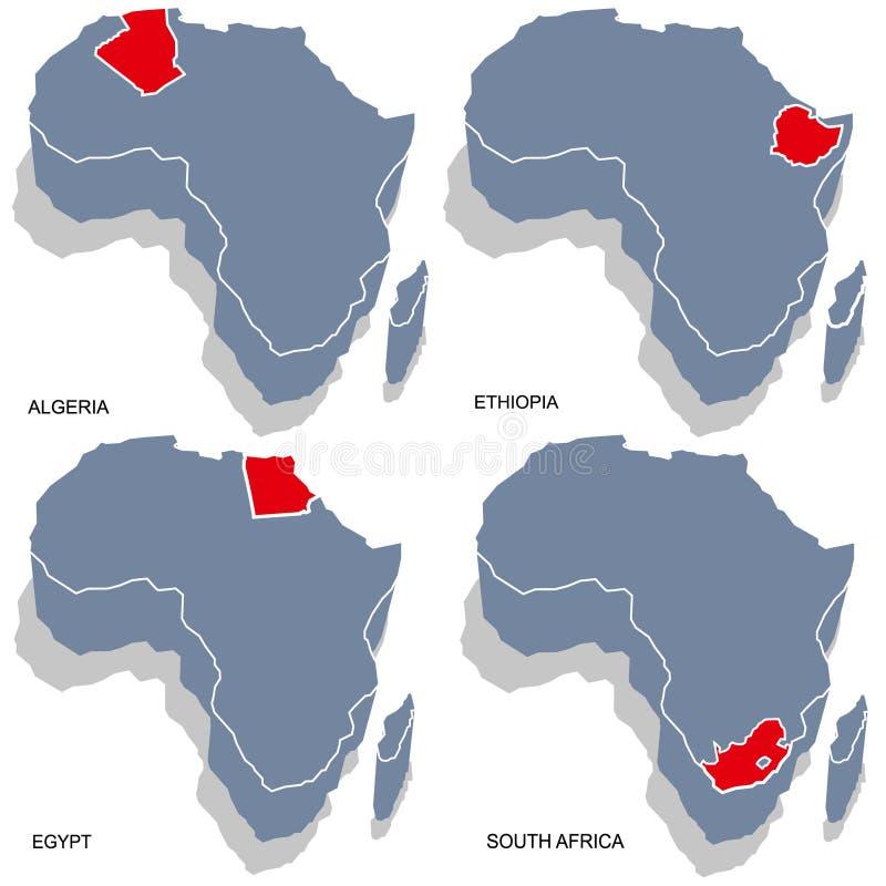 3d mapa Africa royalty ilustracja