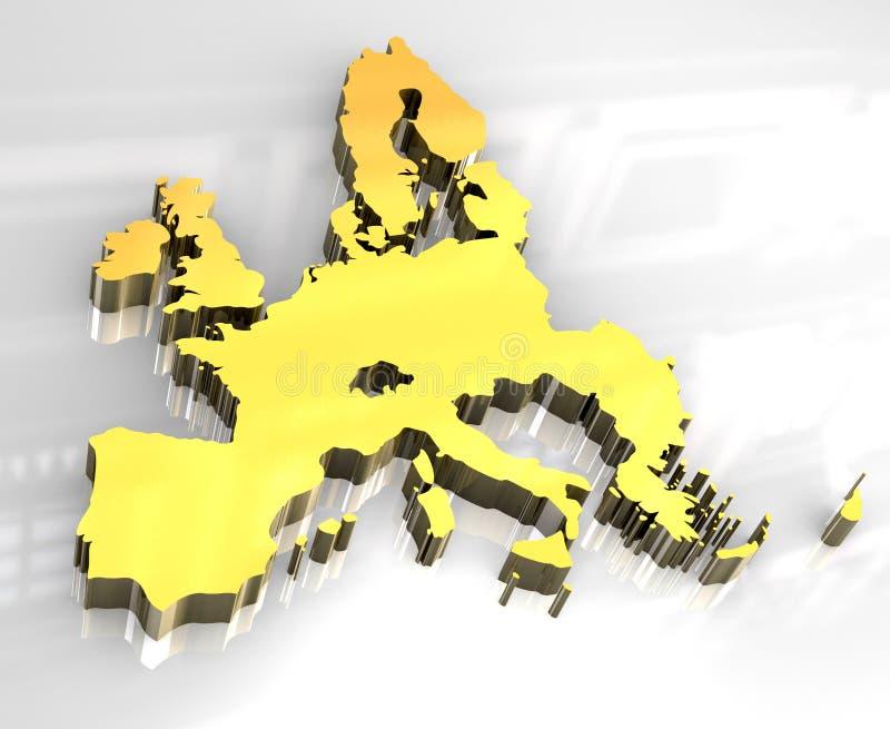 3d mapy europejski złoty zjednoczenie royalty ilustracja