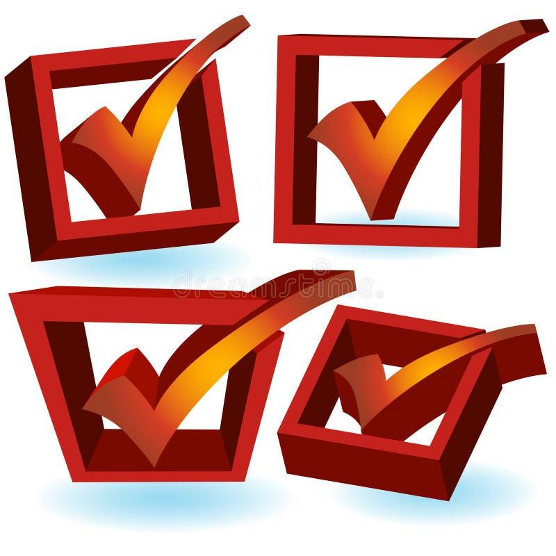 3D marca de cotejo - rojo stock de ilustración