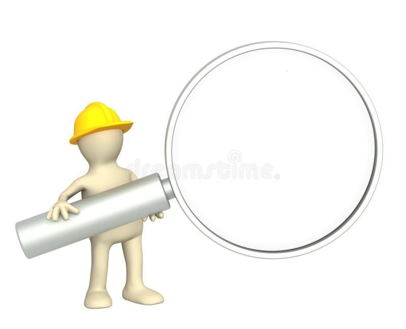 3d marionet - bouwer met loupe stock illustratie