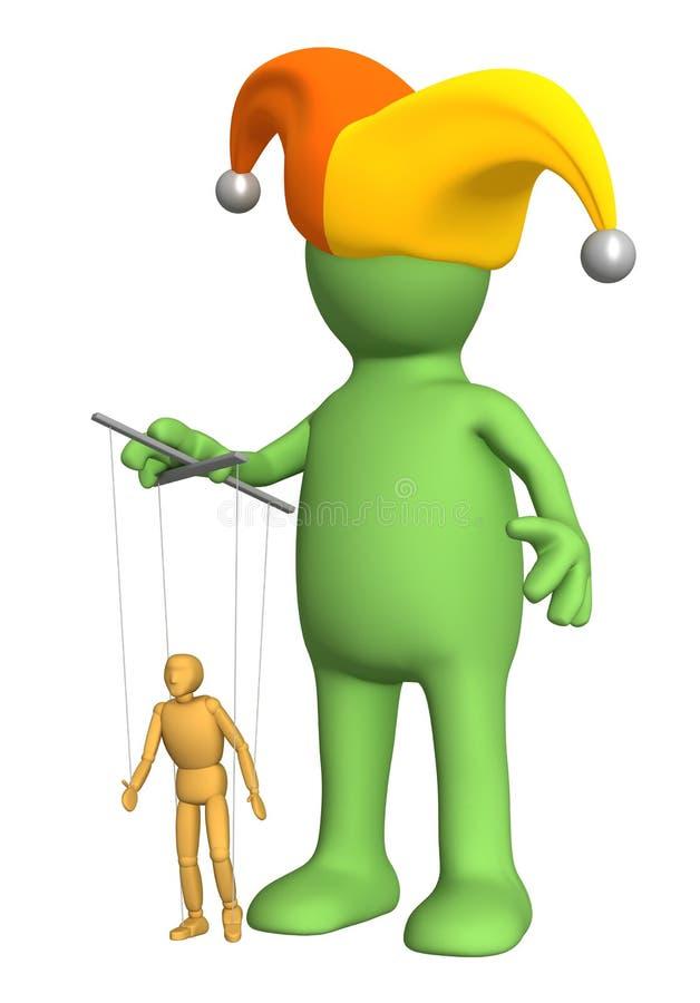 3d marionet-clown, die een kleine pop leidt - marionet stock illustratie