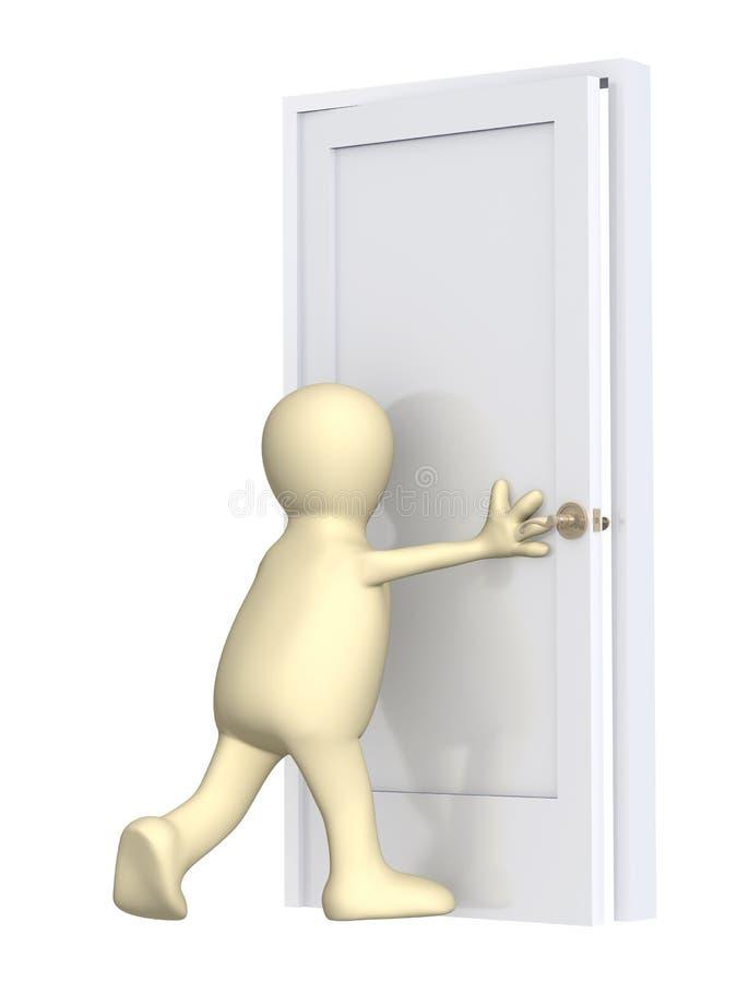 3d marionet, die een deur sluit royalty-vrije illustratie