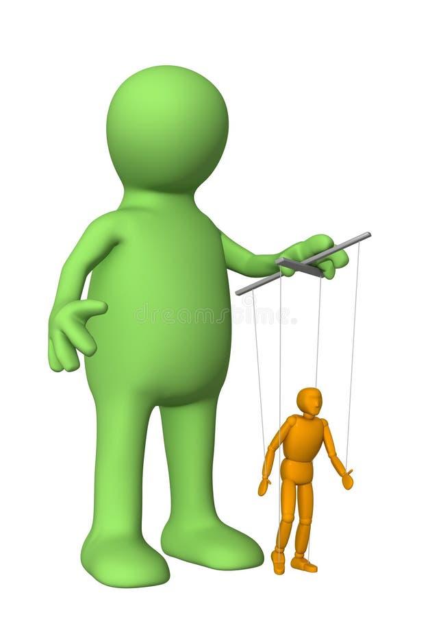 3d marionet, die een pop leidt - marionet royalty-vrije illustratie