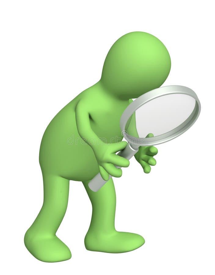 3d marionet, die meer magnifier houdt vector illustratie