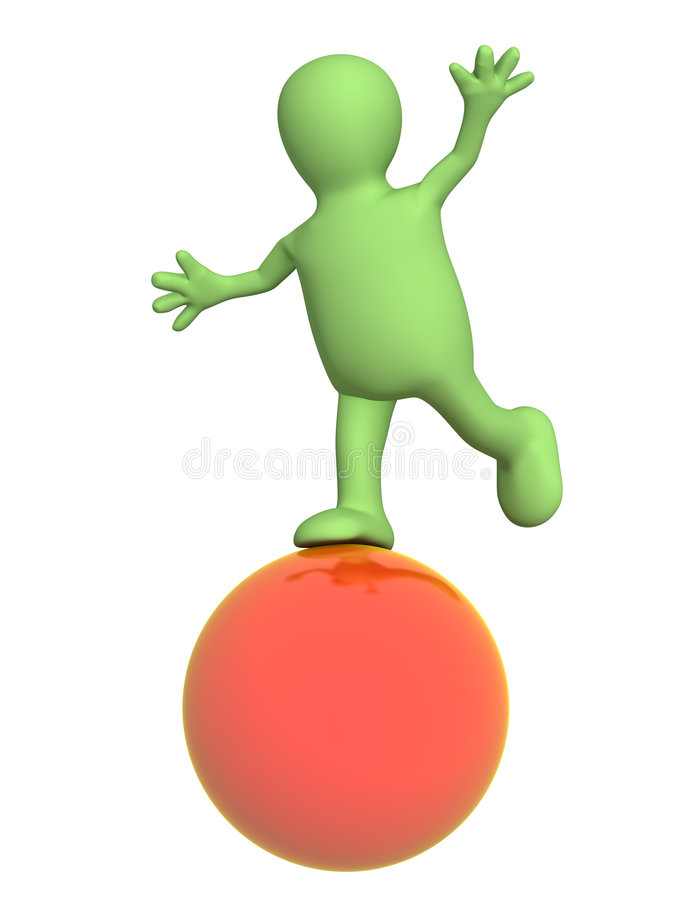 3d marionet, die op een rode bal in evenwicht brengt stock illustratie