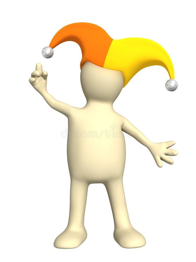 3d marionet, in een hoed van de clown met klokken royalty-vrije illustratie