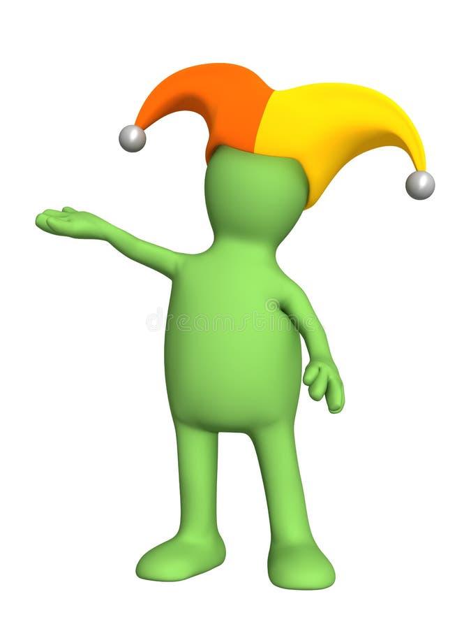 3d marionet, in een hoed van de clown met klokken vector illustratie